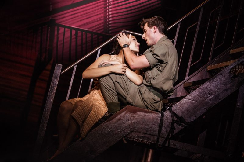 """Emily Bautista as 'Kim' and Anthony Festa as 'Chris' in the North American Tour of MISS SAIGON singing """"Sun and Moon"""""""
