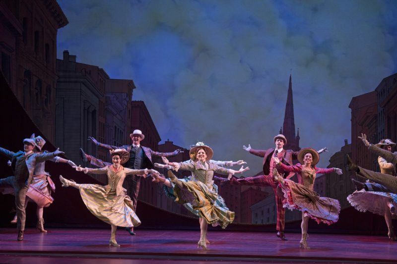 """The chorus of Hello, Dolly National Tour dance in perfect unison during the number """"Dancing."""""""